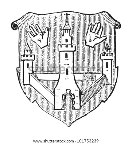 Antwerp coat of arms (city in Belgium) / vintage illustration from Brockhaus Konversations-Lexikon 1908