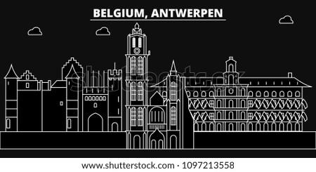 Antwerpen silhouette skyline. Belgium - Antwerpen vector city, belgian linear architecture, buildings. Antwerpen travel illustration, outline landmarks. Belgium flat icons, belgian line banner