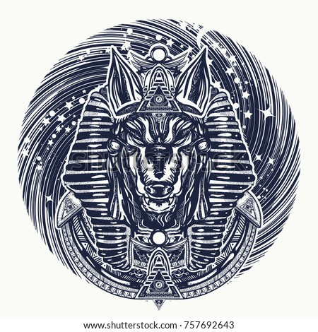 anubis and universe tattoo and