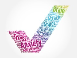 Anxiety check mark word cloud collage, health concept background