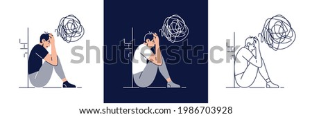 Anxiety concept set. Frustrated stressed man feels anxiety, suffers from mental illnesses. Psychological diseases, mental disorder, stress, mental disorders for web design. Flat vector illustration