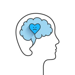 Anxiety concept with head, brain and heart silhouette. Heart shape with sad face due to anxious emotions, distress, inner turmoil and feeling worried. Vector illustration isolated on white background.