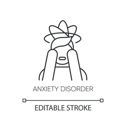 Anxiety disorder linear icon. Fear. Panic attack. Distress. Migraine. Mental problem. Stress and tension. Thin line illustration. Contour symbol. Vector isolated outline drawing. Editable stroke