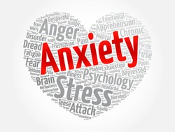 Anxiety heart word cloud collage, health concept background