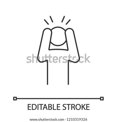 Anxiety linear icon. Exhaustion, fatigue. Thin line illustration. Apathy. Worrying person. Panic attack. Depression, desperation. Contour symbol. Vector isolated outline drawing. Editable stroke
