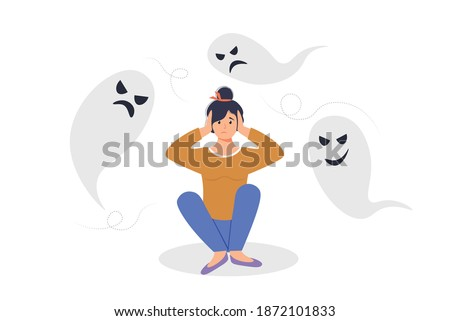 Anxiety or fears concept. Negative thoughts around the woman. Female character covered his ears with his hands. Anxiety, burnout, or panic. Woman suffers from negative thoughts or emotions. Foto stock ©