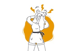 Anxiety, panic attack, mental stress headache concept