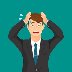 Anxiety person portrait on blue background. Cartoon illustration. Anxious hold hands at his face and scream. Headache pain. Worried loser. Tired, upset person. Disappointed, depressed, shocked. Vector