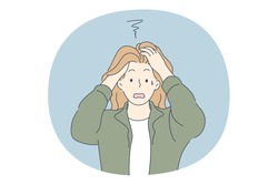 Anxiety, stress, Depression concept. Young unhappy worried female cartoon character standing, touching head with hands and feeling panic and depression with something vector illustration