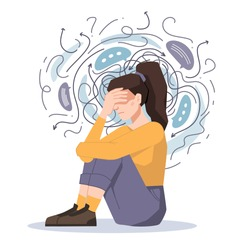 Anxiety, woman fears and phobias, thoughts get confused and crushed isolated girl sitting on floor with headache. Vector troubled unhappy girl, anxious scared female in despair, psychological problems