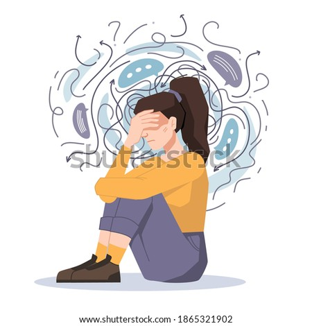 Anxiety, woman fears and phobias, thoughts get confused and crushed isolated girl sitting on floor with headache. Vector troubled unhappy girl, anxious scared female in despair, psychological problems Foto d'archivio ©