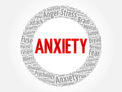 Anxiety word cloud collage, health concept background