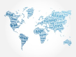 Anxiety word cloud in shape of world map, health concept background