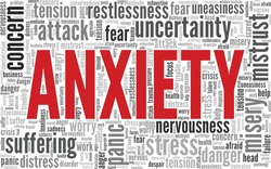 Anxiety word cloud isolated on a white background