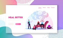 Anxious Characters Sitting at Psychologist Doctor Cabinet Landing Page Template. Depressed Men and Women Suffering of Depression Anxiety Problem Feeling Frustrated. Cartoon People Vector Illustration