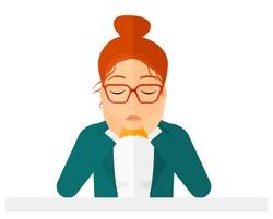 Anxious woman clutching her head.