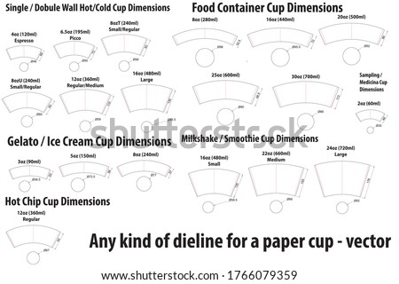 Any kind of dieline - diecut for a paper cup template - vector