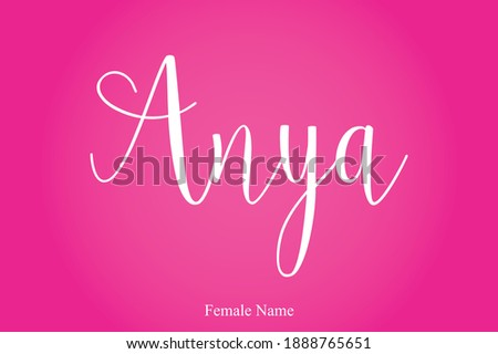 Anya-Female Name Calligraphy White Color Text On Pink Gradient Background  Stock fotó ©