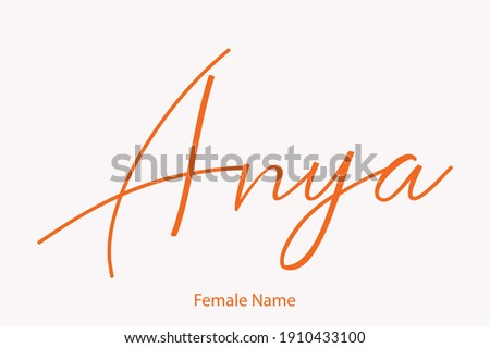 Anya Female name - in Stylish Lettering Cursive Typography Text Stock fotó ©