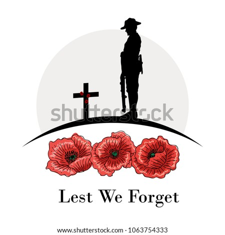 anzac day banner  silhouette of