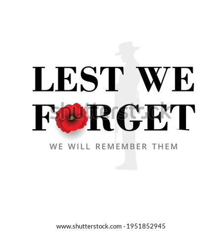 Anzac Day Banner with silhouette of soldier paying tribute and poppy flower, Vector Stock fotó ©