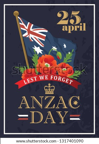 anzac day card with australian