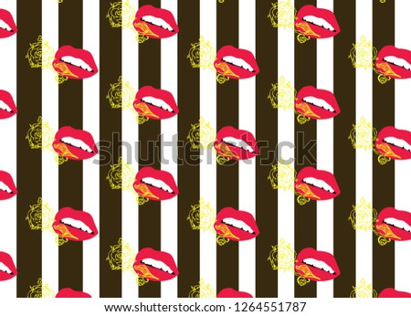 aop lips and flowers stripes