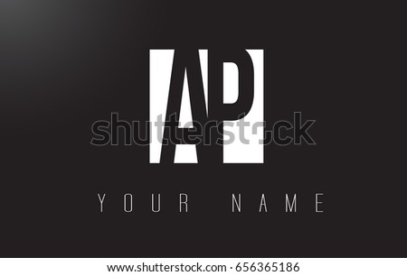 AP Letter Logo With Black and White Letters Negative Space Design.
