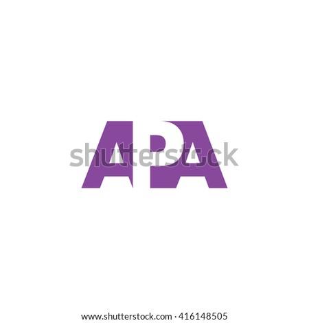 APA Logo. Vector Graphic Branding Letter Element. White Background Stok fotoğraf ©