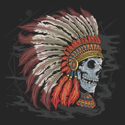 APACHE AMERICAN INDIAN SKULL HEAD TATTOO ARTWORK WITH EDITABLE LAYERS VECTOR