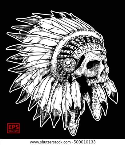 apache head skull on black