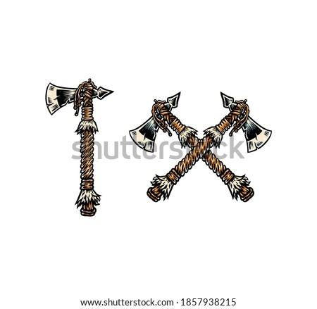 Apache Indian Axe, hand drawn line style with digital color, vector illustration