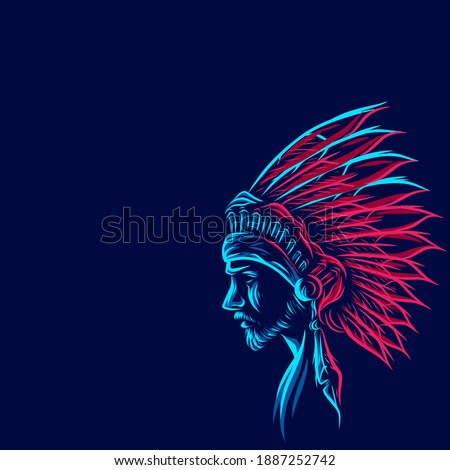 Apache indian warrior hero Line. Pop Art logo. Colorful design with dark background. Abstract vector illustration. Isolated black background for t-shirt, poster, clothing, merch, apparel, badge design