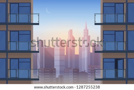 Apartment Balcony in modern house in sunset. Urban sityscape skyscrapers cityscape between civil houses cartoon background vector illustration.