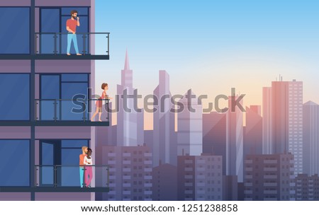 Apartment Balcony in modern house with resting people in sunset. Urban sityscape skyscrapers background cartoon vector illustration.