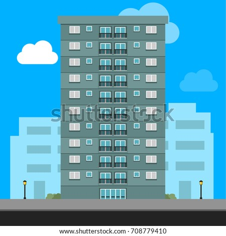 Apartment Building and City Illustration