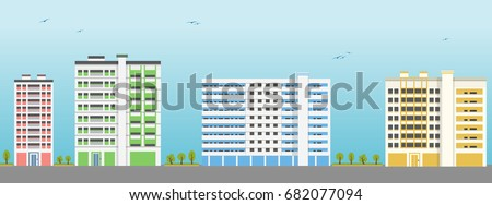 Apartment Building Exteriors. Vector Illustration.