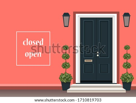 Apartment building with door, front with doorstep and steps porch, flower pot, lamp. Exterior entrance with doors house. Vector illustration for design banner background. Closed open doors concept