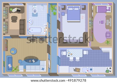 Apartment Floor Plan Top View Furnished Flat From Above