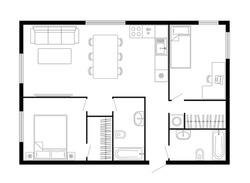 Apartment floor plan. Two bedroom apartment. Vector architecture plan of condominium, flat, house. Interior design elements kitchen, bedroom, bathroom furniture. 2D 2 bedroom apartment floor plan.