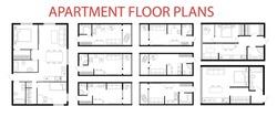 Apartment floor plans. Micro, one, two bedroom apartment. Interior design elements kitchen, bedroom, bathroom furniture. Vector architecture plan of studio, condominium, flat, house. 2D floor plans