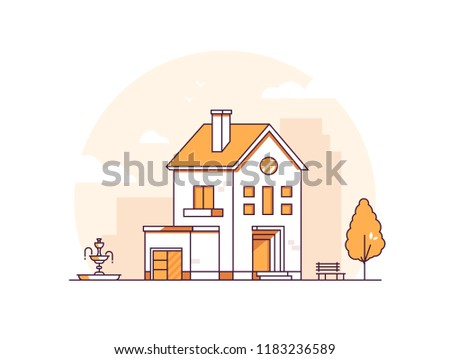 Apartment house - modern thin line design style vector illustration on white background. Orange colored image with a lovely building, townhouse with dormer windows and balcony, bench, fountain, tree