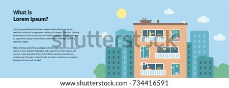 apartment house. multi-storey building. managing company flyer. management company banner. house with neighbors. multi-storey house flyer.