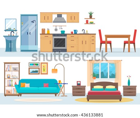 Apartment inside. Detailed modern house interior. Rooms with furniture. Flat style vector illustration. - Shutterstock ID 436133881