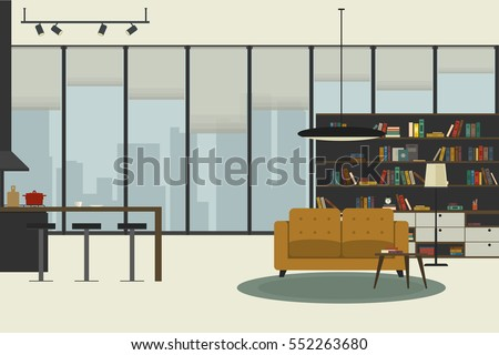 apartment inside in flat style