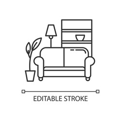 Apartment interior pixel perfect linear icon. Living room furniture. Cosy home. Couch, sofa. Thin line customizable illustration. Contour symbol. Vector isolated outline drawing. Editable stroke