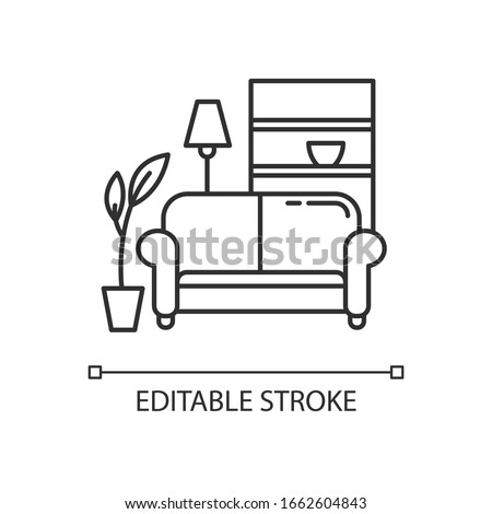 Apartment interior pixel perfect linear icon. Living room furniture. Cosy home. Couch, sofa. Thin line customizable illustration. Contour symbol. Vector isolated outline drawing. Editable stroke Сток-фото ©