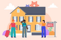 Apartment rent, hostel concept. Group of tourists stand in front of hostel. Poster for social media, web page, banner, presentation. Flat design vector illustration