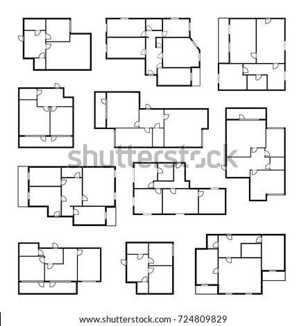 apartment vector plans, architectural project blueprint