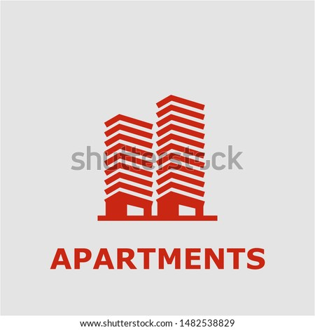 Apartments symbol. Outline apartments icon. Apartments vector illustration for graphic art.